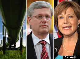 The disagreement between Christy Clark and Alison Redford over the Northern Gateway pipeline puts Stephen Harper in a delicate position with no easy way out. (Alamy/CP)