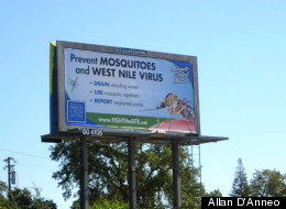 A billboard in Carmichael, Calif., educates residents about West Nile virus prevention.