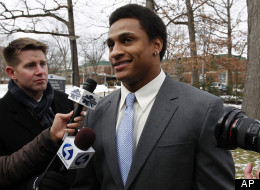 Penn State linebacker Khairi Fortt, right, talks after the viewing for former Penn State football coach Joe Paterno at the Pasquerilla Spiritual Center on the Penn State campus, Tuesday, Jan. 24, 2012 in State College, Pa. (AP Photo/Alex Brandon)