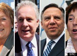 Pauline Marois (PQ), Jean Charest (PLQ), François Legault (CAQ), Françoise David (QS). Un débat des chefs à quatre aura lieu le 19 août prochain.