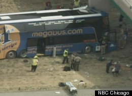 A double-decker Megabus crashed into a pillar in downstate Illinois Thursday.
