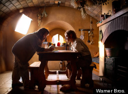 Peter Jackson and Martin Freeman in 'The Hobbit'
