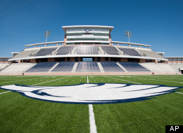 August 3, 2012 - A view of the press box and home side seating of the nearly completed Allen Eagle Stadium. The $59.6 million dollar, 18,000 seat project was funded from a $119 million bond package approved by voters in 2009. The stadium features a sunken-bowl design, video scoreboard, multi-level press box, weight room, wrestling room, and an indoor golf facility. (Michael Prengler/Special Contributor)