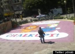 At least one person has already been arrested over the chalk art depicted in this photo. Picture by <a href=