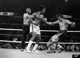 Heavyweight boxer John Gardner of England begins to fall to the canvas following knockout punch by Michael Dokes of Akron, Ohio, in the fourth round of their scheduled 15-round bout at Detroit's Joe Louis Arena, June 12, 1981. (AP Photo)