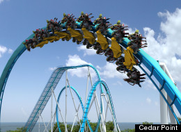 An artist's rendering of Cedar Point's planned 2013 roller coaster, GateKeeper. (Cedar Point)