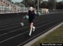 Riley McLincha, 61, of Clio, Michigan, just set a world record by running a mile in 8.44 minutes while dribbling three basketballs at once.