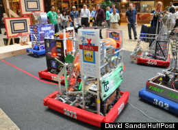 Robotics teams from Detroit's Finney and Cass Tech high schools as well as Lake Orion, Andover/Lahser and the International Academyin Bloomfield Hills compete in a robotics exhibition at Detroit's Compuware building on August 14, 2012. The event was sponsored by Quicken Loans and featured basketball-shooting robots that competed in last year's FIRST Robotics competition.