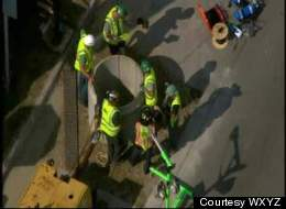 Body parts were found in a sewer in Sterling Heights, Mich., on August 15, 2012 (Courtesy WXYZ).