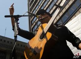 Le guitariste de Rage against the Machine, Tom Morello le 18 mai 2012 à Chicago
