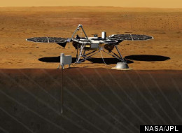 Artist rendition of the proposed InSight (Interior exploration using Seismic Investigations, Geodesy and Heat Transport) Lander. The mission is set to launch in 2016.