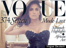 Mexican-born actress Salma Hayek appears on the cover of the September 2012 issue of Vogue Deutsch.
