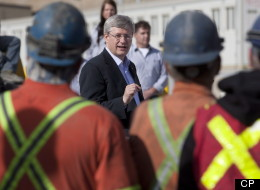 Canadian Prime Minister Stephen Harper delivers a speech at a copper mine in Minto, Yukon, Tuesday August 21, 2012. (CP/Adrian Wyld)