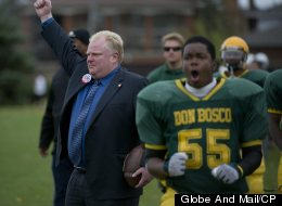 Rob Ford coaches the Don Bosco Catholic Secondary School football team during a game in Etobicoke, October 21, 2010. (Photo by Kevin Van Paassen/The Globe and Mail/CP)