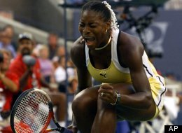 Serena Williams reacts before match point against Switzerland's Martina Hingis at the women's finals at the U.S. Open, Sept. 11, 1999 in New York.