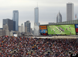 In this photo taken on Sept. 20, 2009, fans pack Chicago's Soldier Field to watch at Chicago Bears take on the Pittsburgh Steelers during an NFL football game. (AP Photo/Kiichiro Sato)