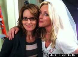 Tina Fey and Jane Krakowski on set of