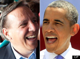 Francois Legault borrowed a page from Barack Obama's successful 2008 U.S. presidential election campaign when he looked ahead Friday to victory in the Quebec election. (CP)