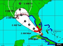 Isaac's projected path as of 8 a.m. Sunday.