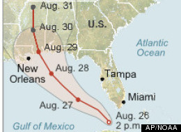 Map locates Tropical Storm Isaac and its projected path for the next five days (AP/NOAA)