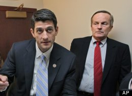 Missouri Congressman Todd Akin, right, a conservative Republican currently running for the U.S. Senate, listens to House Budget Committee Chairman Paul Ryan, R-Wis., before a news conference April 5, 2011. (AP Photo/J. Scott Applewhite, File)