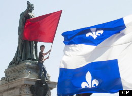A protester opposing Quebec student tuition fee hikes demonstrates in Montreal, Wednesday, August 22, 2012. THE CANADIAN PRESS/Graham Hughes