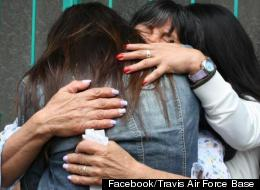Nicole Culverhouse hugs her mother and sister after being reunited with her family in Bogota, Colombia.