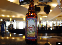 A bottle of Fat Tire Amber Ale sits on the bar in the club level of the Pepsi Center in Denver