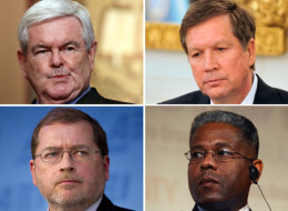 Among the survey respondents (clockwise from upper left) were Newt Gingrich, John Kasich, Allen West and Grover Norquist. (Photos: Getty Images)
