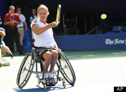 Five-time Paralympics tennis champion Esther Vergeer participates in Arthur Ashe Kids Day at the USTA Billie Jean King National Tennis Center on Saturday, Aug. 28, 2010 in New York. (AP Photo/Evan Agostini)