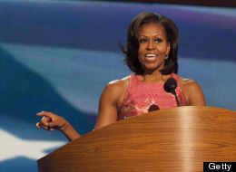 First Lady Michelle Obama delivers her speech at the DNC Tuesday night.