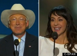 Ken Salazar and Maria Ciano speak at the Democratic National Convention on opening night.