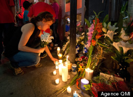 Quebec election shooting victim Denis Blanchette is remembered at a candlelight vigil Wednesday evening outside the club where he was killed (QMI)