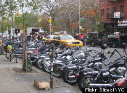 Some motorcycles parked in NYC.