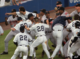 Players from the Baltimore Orioles and New York Yankees engage in a bench clearing brawl after Orioles relief pitcher Armando Benitez beaned Yankees batter Tino Martinez after Bernie Williams hit a three-run home run to give the Yankees a 7-5 lead in the eighth inning Tuesday, May 19, 1998 at Yankee Stadium in New York.