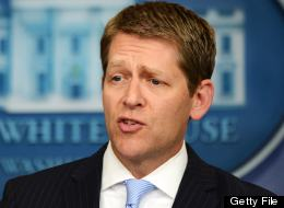 White House Press Secretary Jay Carney answers a question during the daily press briefing at the White House on June 21, 2012. AFP PHOTO/Jewel Samad (Photo credit should read JEWEL SAMAD/AFP/GettyImages)