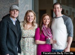 From left:  Sean Burke and wife Tiffany Burke (the surrogate mother);  Natalie Lucich (Tiffany's sister in law) and James Lucich (Tiffany's brother).