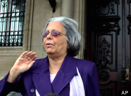 Cuban opposition leader and former prisoner Martha Beatriz Roque is seen outside the entrance to the Spanish Embassy Saturday, Feb. 5, 2005 in Havana, Cuba. (AP Photo/Jose Goitia)