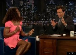Serena Williams sings karaoke with Jimmy Fallon in New York on Late Night With Jimmy Fallon.