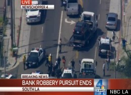Bank robbery suspects led police on a car chase from Sylmar to South LA Wednesday morning.