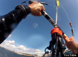 Larry Dennis recorded himself kiteboarding over the Victoria breakwater on Sept. 11, 2012. (YouTube)