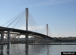The new Port Mann Bridge is getting its first test of rush hour traffic Monday morning. (B.C. Government)