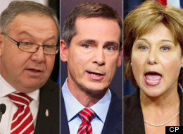 Approval ratings in a new poll from Angus Reid for Nova Scotia's Darrel Dexter, Ontario's Dalton McGuinty and B.C.'s Christy Clark suggest all three leaders are in trouble. (CP)