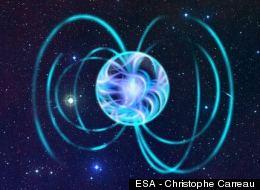 Artist's interpretation of a magnetic star, or magnetar.