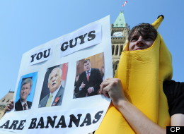 Occupy protesters are demonstrating on Parliament Hill Monday in Ottawa on the one year anniversary of the movement. (CP)