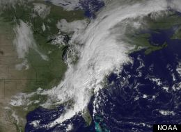 The GOES satellite captured this image of a large system of rain and thunderstorms over the East Coast on Sept. 18, 2012, that is unusual for this time of year, and is likely to produce much rain and strong winds.