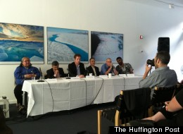 From left: Caroline Cannon, Inupiat leader and 2012 Goldman prize winner; K Subramanya, chief executive officer at Tata BP Solar India Ltd; Bryan Walsh, senior energy and environment writer for <em>Time</em>; Surendra Shrestha, regional director for Asia and the Pacific region of the UNEP; Bill McKibben, co-founder of 350.org, and Kumi Naidoo, executive director of Greenpeace International.