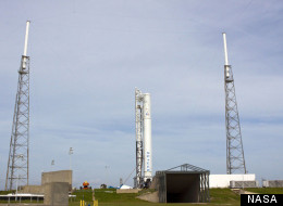 SpaceX's Falcon 9 rocket sits ready for a launch dress rehearsal at Florida's Cape Canaveral Air Force Station ahead of the Dragon space capsule's first contracted cargo run to the International Space Station.
