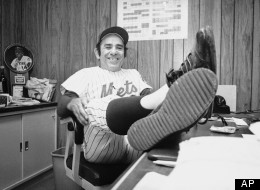 New York Mets Manager Yogi Berra, whose team has a one-game advantage over A's in World Series play, is an obviously happy man in dressing room at New York, on Oct. 18, 1973 after the 2-0 win. Mets now lead A's, 3 games to 2. (AP Photo)