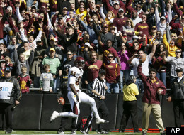 Central Michigan wide receiver Titus Davis catches a 13-yard touchdown pass during the second half of an NCAA college football game against Iowa, Saturday, Sept. 22, 2012, in Iowa City, Iowa. Central Michigan won 32-31.